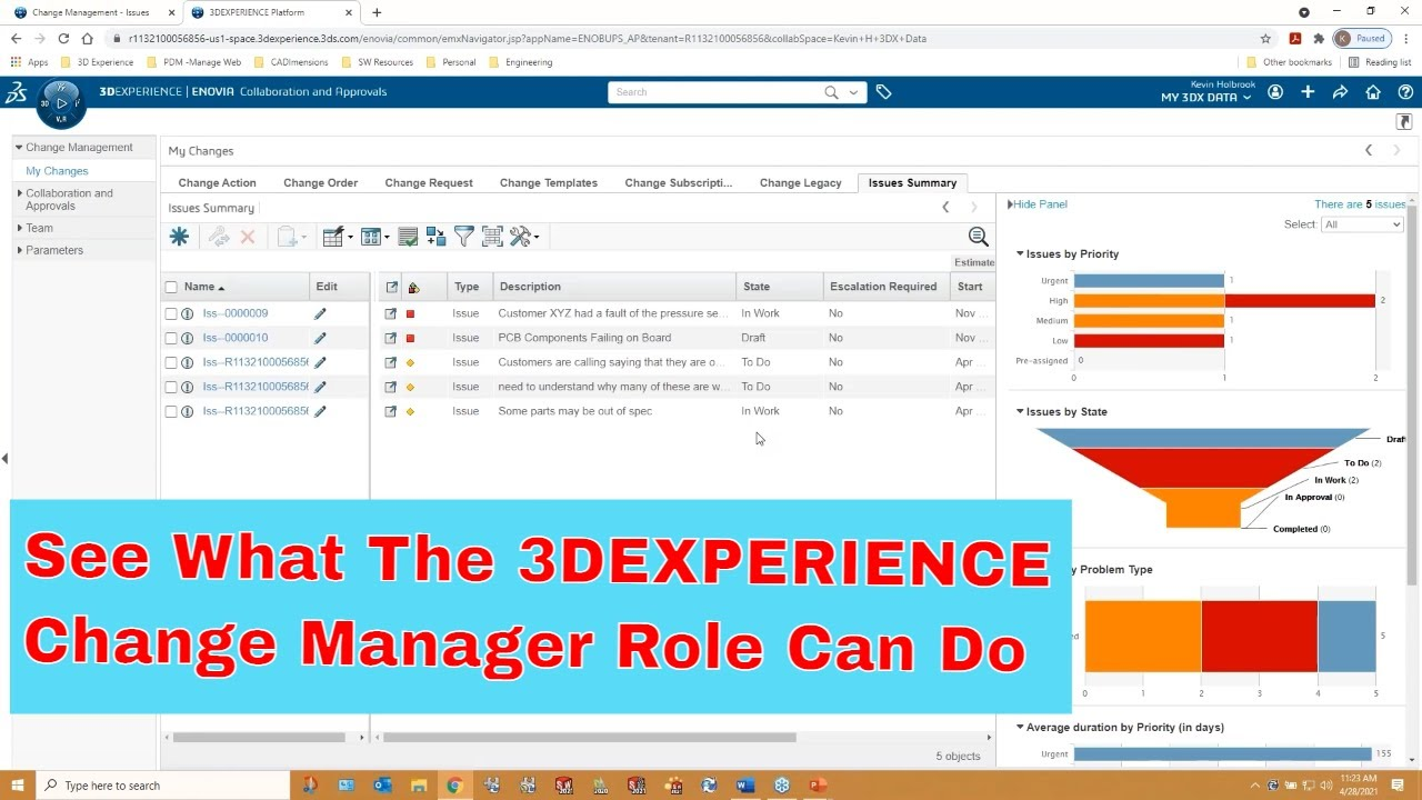 End to End Change Process with the 3DEXPERIENCE Change Manager Role
